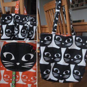Katzenliebe: Große Einkaufstaschen mit Katzenköpfen